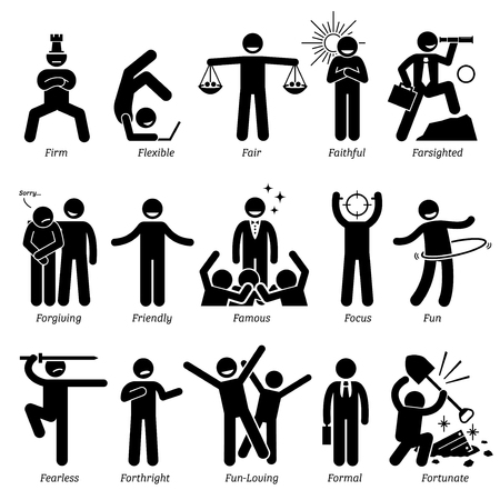 focus: Positive Personalities Character Traits. Stick Figures Man Icons. Starting with the Alphabet F.