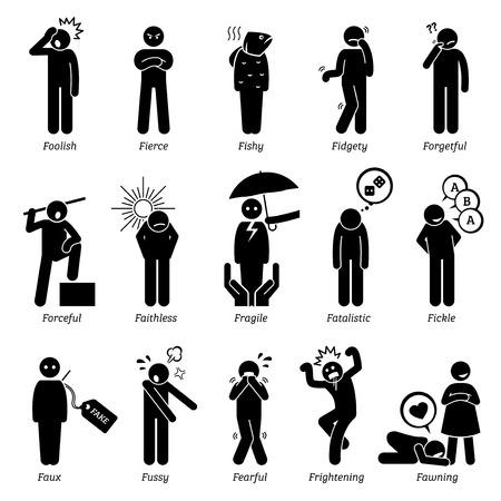 Personalidades negativos rasgos de carácter. Figuras del palillo hombre iconos. Comenzando con el alfabeto F. Ilustración de vector