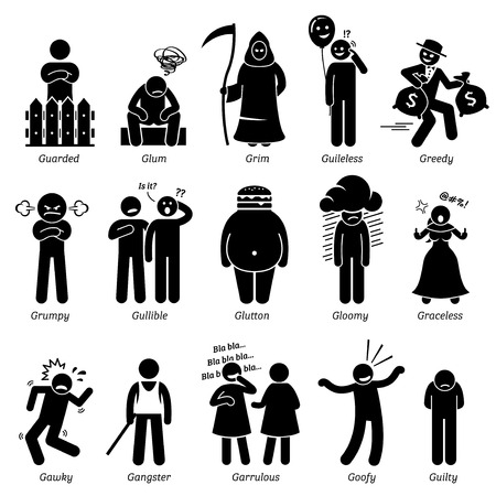 talkative: Negative Personalities Character Traits. Stick Figures Man Icons. Starting with the Alphabet G.