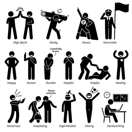 Positieve Personalities de karaktereigenschappen. Stick Figures Man Pictogrammen. Te beginnen met het alfabet H.