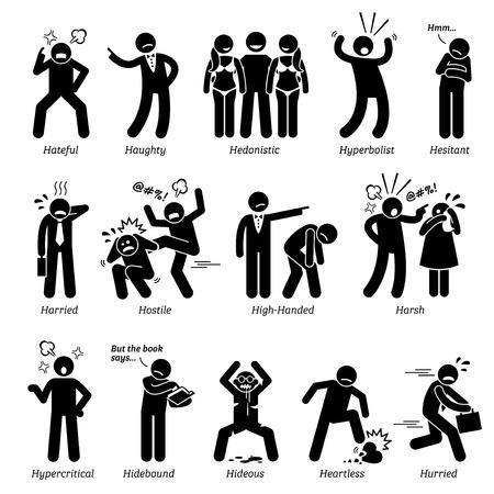 Rasgos de carácter de personalidades negativas. Figuras de palo hombre iconos. Comenzando con el alfabeto H.