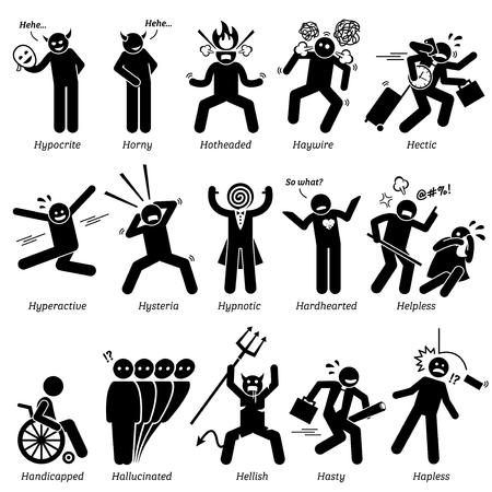 Personalidades negativos rasgos de carácter. Figuras del palillo hombre iconos. Comenzando con el alfabeto H. Ilustración de vector