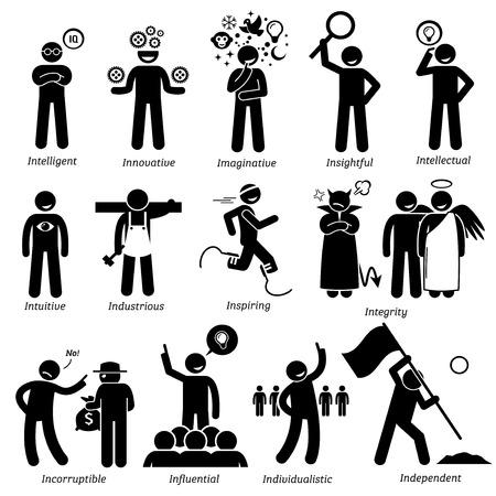 accion: Personalidades positivos rasgos de carácter. Figuras del palillo hombre iconos. Comenzando con el alfabeto I. Vectores