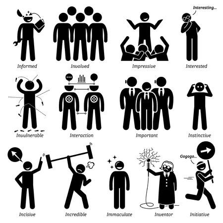 Positive Persönlichkeiten Charaktereigenschaften. Stick Figures Man Icons. Beginnend mit dem Alphabet I. Vektorgrafik