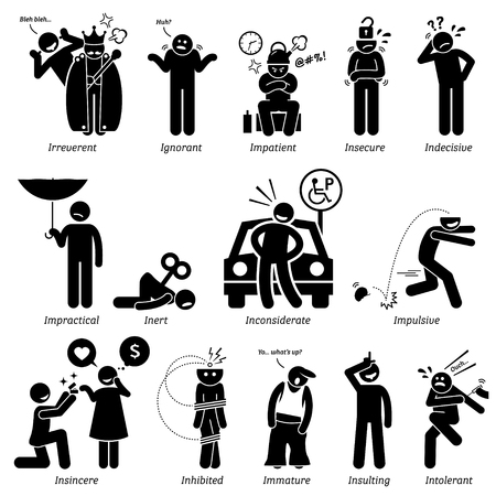 Negative Personalities Character Traits. Stick Figures Man Icons. Starting with the Alphabet I.