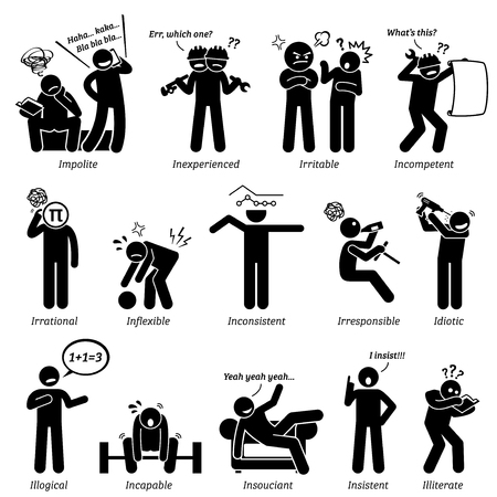 disrespectful: Negative Personalities Character Traits. Stick Figures Man Icons. Starting with the Alphabet I.
