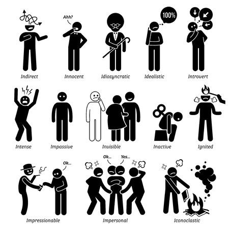 Personalidades neutros rasgos de carácter. Figuras del palillo hombre iconos. Comenzando con el alfabeto I. Foto de archivo - 59927502