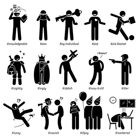 knowledgeable: Positive Negative Neutral Personalities Character Traits. Stick Figures Man Icons. Starting with the Alphabet K. Illustration