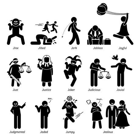 Positivo Negativo Neutral personalidades Los rasgos de carácter. Figuras del palillo hombre iconos. Comenzando con el alfabeto J.