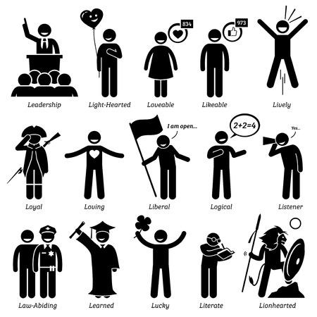 Personalidades positivos rasgos de carácter. Figuras del palillo hombre iconos. Comenzando con el alfabeto L. Foto de archivo - 59927509
