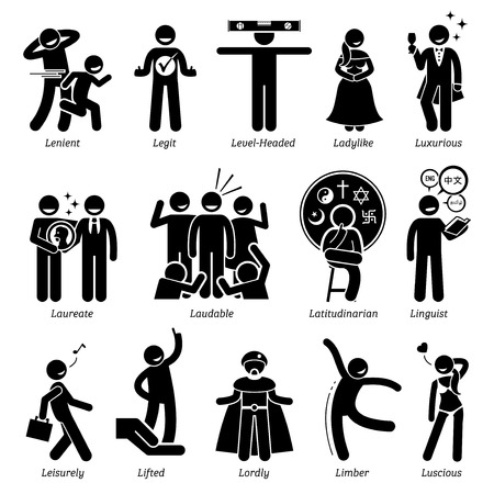 Positive Persönlichkeiten Charaktereigenschaften. Stick Figures Man Icons. Beginnend mit dem Alphabet L. Standard-Bild - 59927508