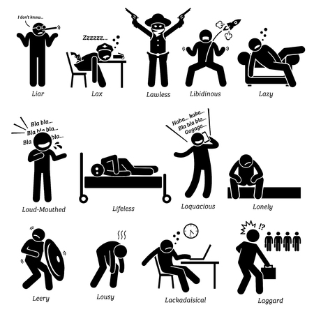 personality: Negative Personalities Character Traits. Stick Figures Man Icons. Starting with the Alphabet L.