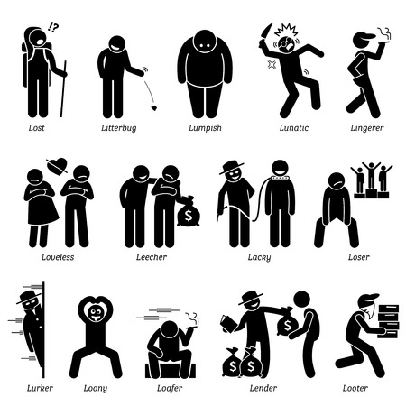 Negative Personalities Character Traits. Stick Figures Man Icons. Starting with the Alphabet L.