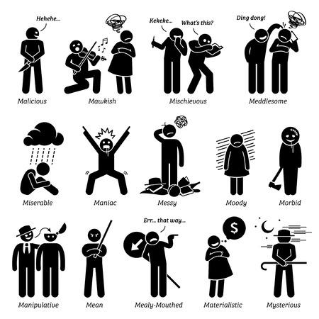 Personalidades negativos rasgos de carácter. Figuras del palillo hombre iconos. Comenzando con el alfabeto M.