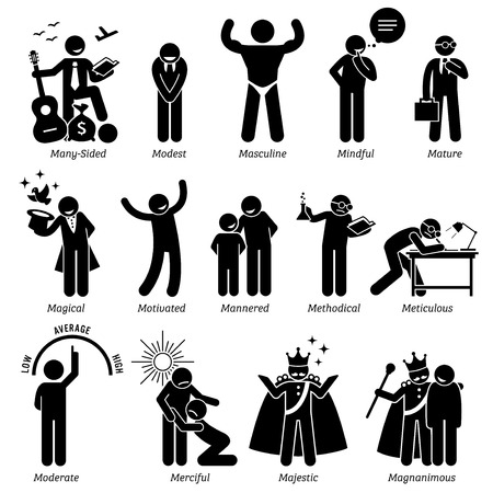 Positive Personalities Character Traits. Stick Figures Man Icons. Starting with the Alphabet M. Vectores