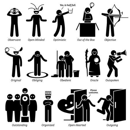 Positive Persönlichkeiten Charaktereigenschaften. Stick Figures Man Icons. Beginnend mit dem Alphabet O.