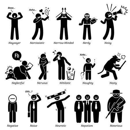 Negatieve Personalities de karaktereigenschappen. Stick Figures Man Pictogrammen. Te beginnen met het alfabet N.