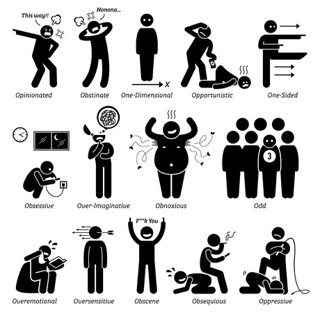 Negative Personalities Character Traits. Stick Figures Man Icons. Starting with the Alphabet O. Vectores