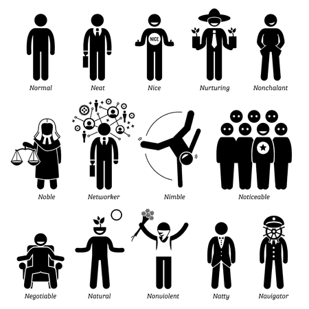 righteous: Positive Personalities Character Traits. Stick Figures Man Icons. Starting with the Alphabet N. Illustration