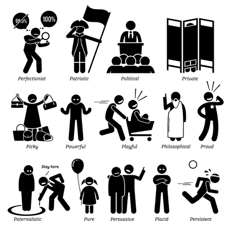 Neutral Personalities Character Traits. Stick Figures Man Icons. Starting with the Alphabet P. Illustration