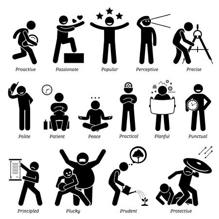 Personalidades positivos rasgos de carácter. Figuras del palillo hombre iconos. Comenzando con el alfabeto P. Ilustración de vector