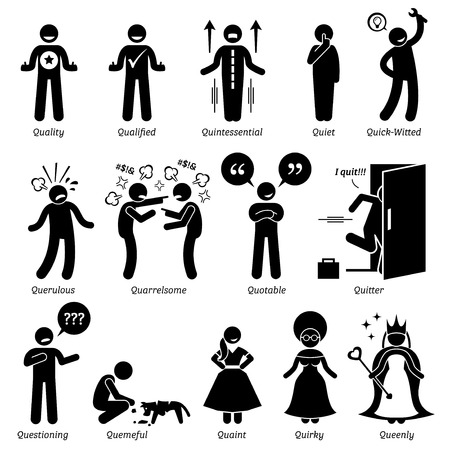 whining: Positive Negative Neutral Personalities Character Traits. Stick Figures Man Icons. Starting with the Alphabet Q.