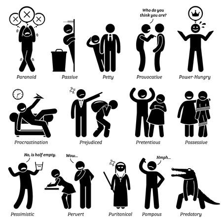 Personalidades negativos rasgos de carácter. Figuras del palillo hombre iconos. Comenzando con el alfabeto P. Ilustración de vector