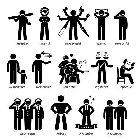 Personnalités positives traits de caractère. Chiffres de bâton Man icônes. A partir de l'alphabet R.