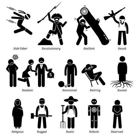 Personalidades neutros rasgos de carácter. Figuras del palillo hombre iconos. Comenzando con el alfabeto R. Ilustración de vector