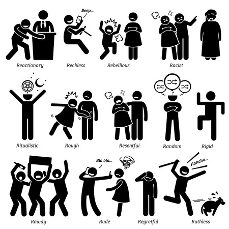 politics: Negative Personalities Character Traits. Stick Figures Man Icons. Starting with the Alphabet R. Illustration