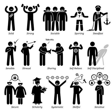 Positive Persönlichkeiten Charaktereigenschaften. Stick Figures Man Icons. Beginnend mit dem Alphabet S.
