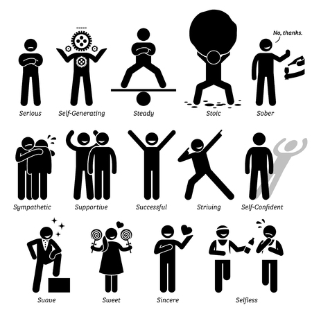 긍정적 인 성격의 캐릭터 특성. 스틱 남자 아이콘도. 알파벳 S.로 시작 스톡 콘텐츠 - 61633960