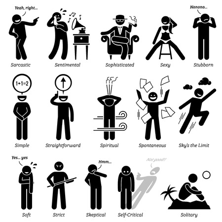 Neutral Personalities Character Traits. Stick Figures Man Icons. Starting with the Alphabet S.
