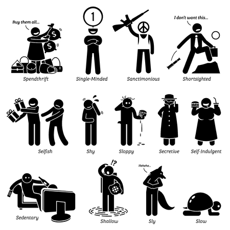 self indulgence: Negative Personalities Character Traits. Stick Figures Man Icons. Starting with the Alphabet S.