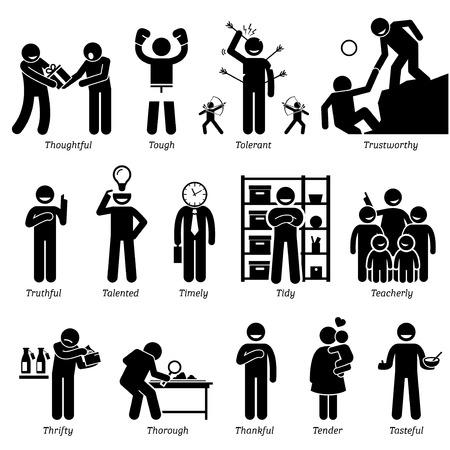 Personalidades positivos rasgos de carácter. Figuras del palillo hombre iconos. Comenzando con el alfabeto T. Ilustración de vector