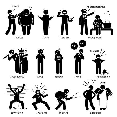 Personalidades negativos rasgos de carácter. Figuras del palillo hombre iconos. Comenzando con el alfabeto T. Ilustración de vector