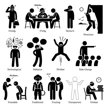 Neutral Personalities Character Traits. Stick Figures Man Icons. Starting with the Alphabet T.
