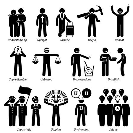 Rasgos positivos Neutral personalidades de caracteres. Figuras del palillo hombre iconos. Comenzando con el alfabeto U. Ilustración de vector