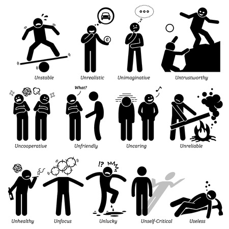 Negative Personalities Character Traits. Stick Figures Man Icons. Starting with the Alphabet U. Illustration