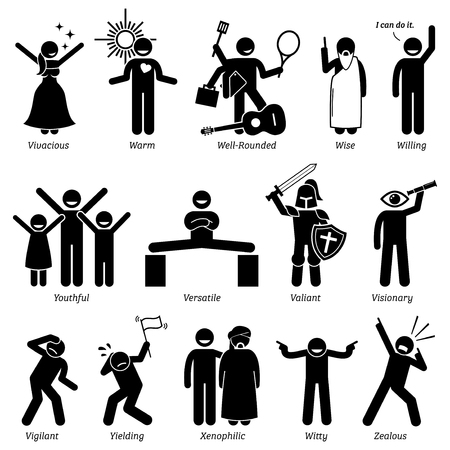 yielding: Positive and Neutral Personalities Character Traits. Stick Figures Man Icons. Starting with the Alphabet V, W, X, Y, and Z. Illustration