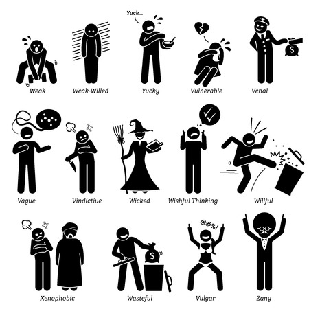 vindictive: Negative Personalities Character Traits. Stick Figures Man Icons. Starting with the Alphabet V, W, X, Y, and Z.