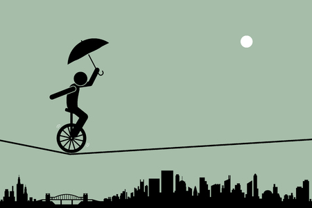 Person riding a unicycle and balancing it with an umbrella going through a tightrope rope with cityscape silhouette at the background. Vectores