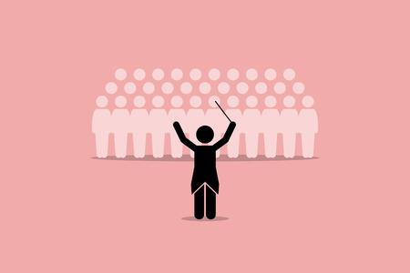 Chef d'orchestre conduire un groupe de choeur. Vector illustration dépeint le leadership, directeur, instructeur, maître, et le coordinateur.