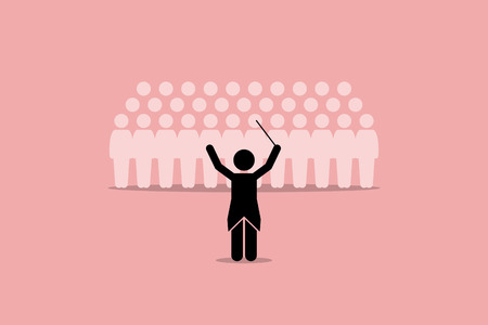 choral: Conductor conducting a choir group. Vector artwork depicts leadership, director, instructor, master, and coordinator.