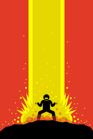 Superhero superhuman charging up his super power energy that explode up to the sky causing a massive explosion. His super power is overwhelming. Vector artwork drawn in anime style. Illustration