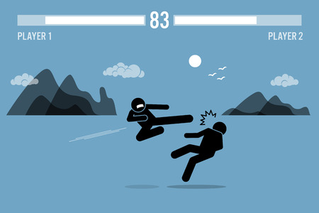 fighters: Stick figure fighter characters fighting inside a video game scene with health bars on top. One person is flying kicking another man with beautiful scenery at the background.