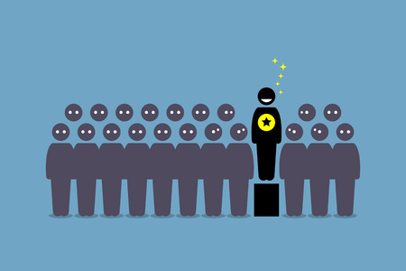 taller: Standing out from the crowd. Vector artwork depicts a person that is special, outstanding, superior, leader, and popular among a group of people. Illustration