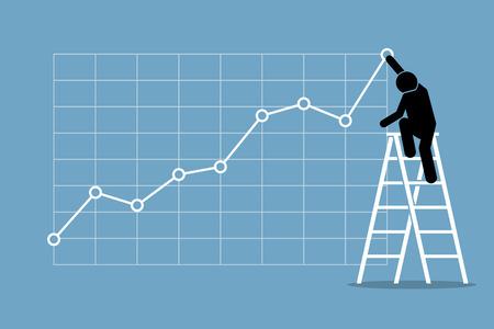 벽에 uptrend 그래프 차트를 조정하려면 사다리에 등반하는 사업가. 벡터 아트웍 금융 성공, 낙관적 인 주식 시장, 좋은 판매, 이익 및 성장을 묘사.