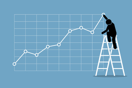 Businessman climbing up on a ladder to adjust an uptrend graph chart on a wall. Vector artwork depicts financial success, bullish stock market, good sales, profit, and growth. Vectores