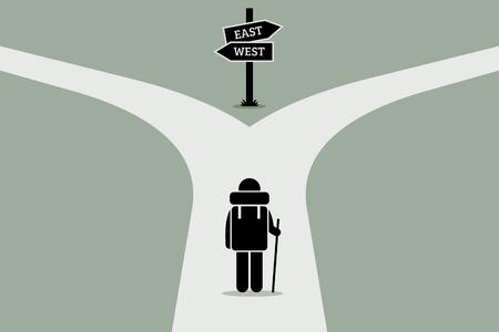탐색기 다음 이동 위치에 대한 결정을 만들려고 노력 분할 도로에 도달. 서로 다른 방향을 나타내는 도로 표지판입니다. 벡터 아트웍 생활, 의사 결정,